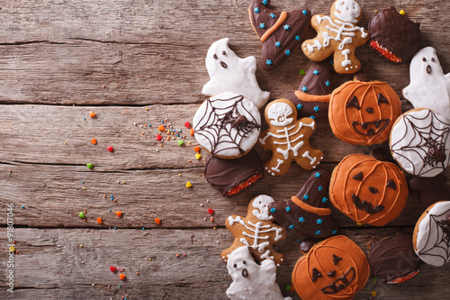 delicious Halloween ginger biscuits closeup. horizontal top view
