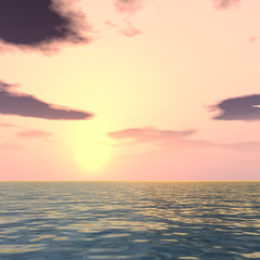 Conceptual sea water and sunset sky