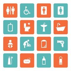 Toilet icon. Bathroom icon. Restroom icon. Vector Illustration.