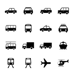 Vehicle and Transportation icons set. Car icon. Plubic bus icon.
