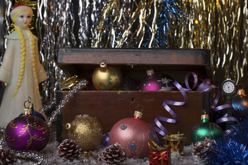 Vintage new year decoration background.Composition with