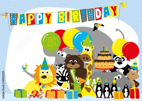 Birthday card for 5 years old child with happy wild animals – Birthday Card for Child