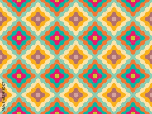 Vector Modern Seamless Colorful Geometry Pattern Flowers Color Yellow Abstract Geometric Background Wallpaper Print