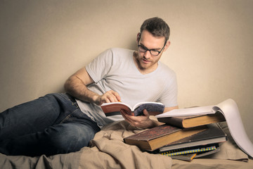 Man reading books