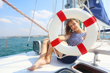 girl traveling on a cruise sailing yacht