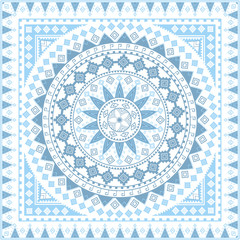 Blue bandana. Bohemian, tribal, ethnic design