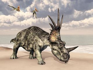 Styracosaurus and Thalassodromeus