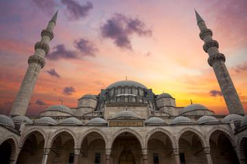 Amazing Sunrise over Blue Mosque, beautiful sky and