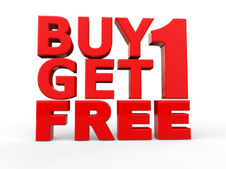 Illustration: 3d buy 1 get 1 free red text