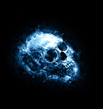 Mythical blue toned skull engulfed in flames