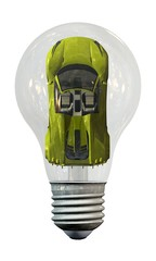 Car in a light bulb - Energy saving - solaoted on white