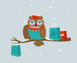 Portrait of fashionable owl on great winter sale.