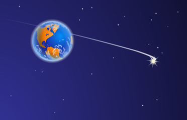 Space journey. Vector illustration of The Planet Earth from Space, with stars, the bright comet and comet's tail. Empty space leaves room for design elements or text.Postcard. Poster. Background.
