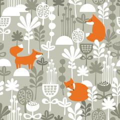 Fox in winter forest seamless pattern.