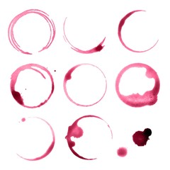 Vector Illustration of Spilled Wine Glasses Stains
