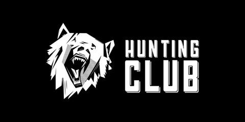 Black and white monochrome emblem, symbol, logotype, sign, badge, sticker, poster of a bear, dog, wolf. Identity, T-shirt, textile, cloth, apparel, tattoo, print usage