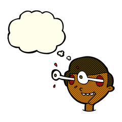 cartoon excited boy's face with thought bubble