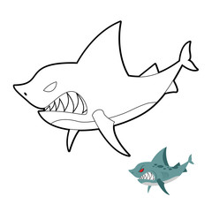 Shark coloring book. Angryl underwater animal. Vector illustrati