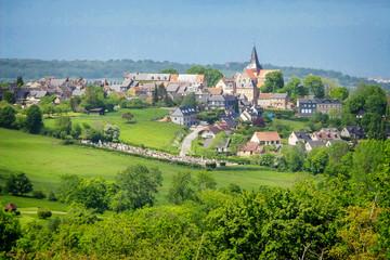 Photo sur Aluminium Pistache Landscape of Beaumont en Auge in Normandy, France