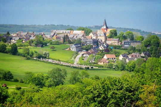 Landscape of Beaumont en Auge in Normandy, France