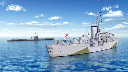Canadian military ship and German submarine of World War II