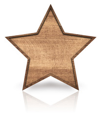 Brown wooden star with dark frame, signboard and reflection on