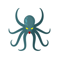 Angry Octopus. Horrible sea monster with tentacles. Vector illus