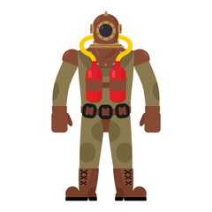 Diver old diving suit. Retro clothing for scuba diving. Vintage