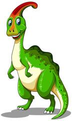 Green dinosaur looking happy