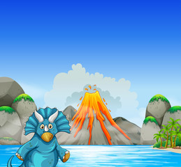 Dinosaur living by the lake