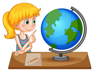 Girl looking at globe on the table