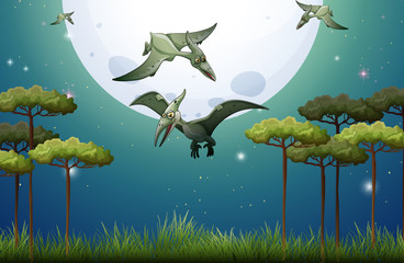 Dinosaurs flying on fullmoon night