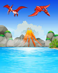 Dinosaurs flying over volcano