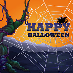 Halloween theme with spider web