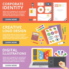 Corporate identity, logo design, digital illustrations flat illustration