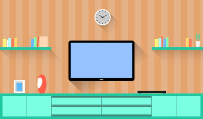 Design around the Television in a Living room. Vector flat Illustration.