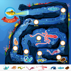 Deep Sea Exploration Treasure Game Map  Treasure Game Map Of Monsters Of The Deep Blue Sea Collection Set. Contains Nautilus, Coelacanth, Gulpereel, Colossal Squid, Anglerfish, Yellow Submarine