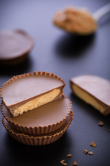 Peanut Butter Cup Stack / Peanut Butter Cup / Peanut Butter Cup Stack on Black Background
