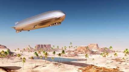 Luftschiff über einer Wüstenlandschaft