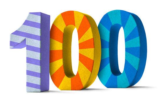 Bunte Zahl aus Pappe - Nummer 100