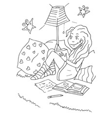 The daily day for girl student hand drawing with black pencil for coloring isolated on the white background