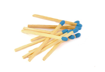 Matches with blue head isolated on a white background