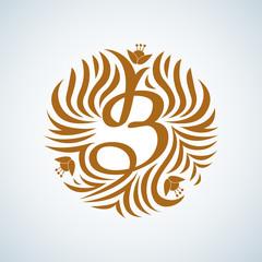B letter monogram. Boutique Luxury Vintage, Crests logo. Business sign, identity for Restaurant, Royalty, Boutique, Hotel, Heraldic, Jewelery, Fashion ,Real estate,Resort. Vector illustration.