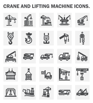 Crane icon or lifting equipment i.e. tower, crawler, wich, mobile, loader, jib, overhead, gantry, container etc.  For industry work i.e. construction, transportation, production, manufacturing etc.