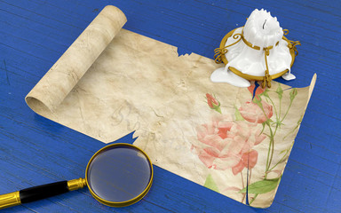 Old antique scroll paper lying on blue wood table with melted candle and magnifying glass