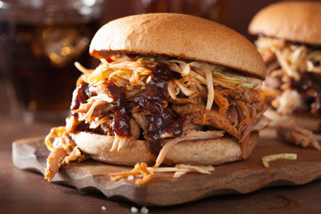 homemade pulled pork burger with coleslaw and bbq sauce Wall mural