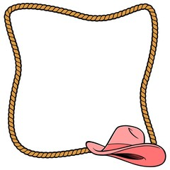Rope Frame and Cowgirl Hat