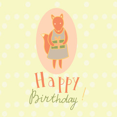 Adorable animals with presents. Birthday party vector card.