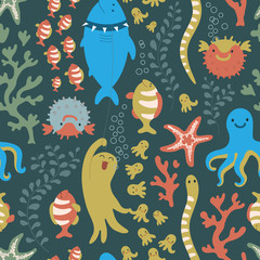 Bright seamless pattern. Underseas.