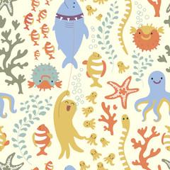 Bright seamless pattern. Underseas.